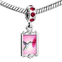 Charms Beads - red crystal dangle hummingbird Image.