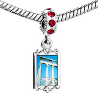 Charms Beads - red crystal dangle roman ruins Image.