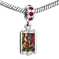 Charms Beads - red crystal dangle first course art Image.