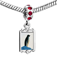Charms Beads - red crystal dangle penguin look out Image.