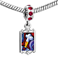 Charms Beads - red crystal dangle chef art Image.