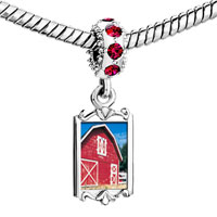 Charms Beads - red crystal dangle barn Image.