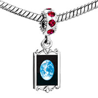 Charms Beads - red crystal dangle earth from space Image.