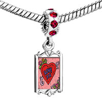 Charms Beads - red crystal dangle love ya Image.