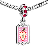 Charms Beads - red crystal dangle sliced heart apple Image.