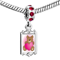 Charms Beads - red crystal dangle brown teddy bear heart Image.