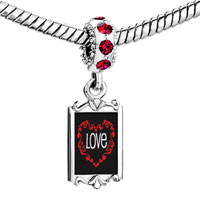 Charms Beads - red crystal dangle love in heart Image.