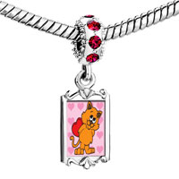 Charms Beads - red crystal dangle cat valentine Image.