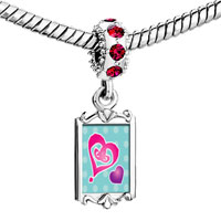 Charms Beads - red crystal dangle painted hearts Image.
