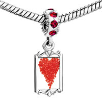 Charms Beads - red crystal dangle hots heart Image.