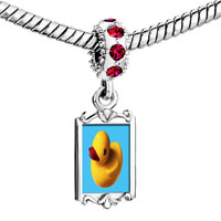 Charms Beads - red crystal dangle yellow rubber duck Image.