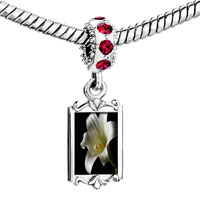 Charms Beads - red crystal dangle white lily Image.