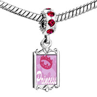 Charms Beads - red crystal dangle pink princess tiara Image.