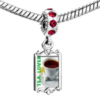 Charms Beads - red crystal dangle tea lover Image.
