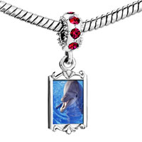 Charms Beads - red crystal dangle smiling dolphin Image.