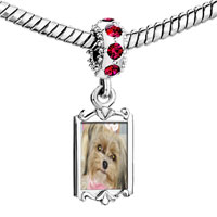 Charms Beads - red crystal dangle shih tzu dog Image.