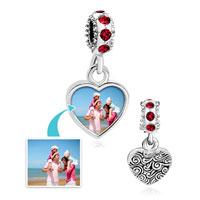 Light Red Crystal Dangle Heart Photo Custom Love Link Frame Beads Charms Bracelets