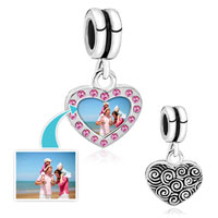 Rose Pink Crystal Dangle Heart Photo Love Custom Link Frame Beads Charms Bracelets