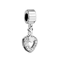 Filigree Bead Dangling Heart Charm Bead Metal Charms Bracelets