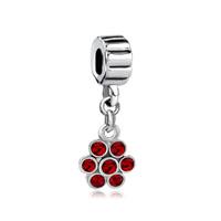 Silver July Ruby Red Birthstone Flower Charm Bracelet Spacers Dangle