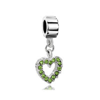 August Peridot Color Births Opean Heart Charm Bracelet Spacer Dangle