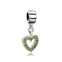August Peridot Color Births Opean Heart Charm Bracelet Spacer Dangle