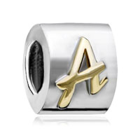 Silver Plated Letter Bracelet Charm Initial A Alphabet European Bead