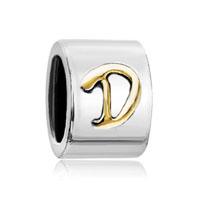 Silver Plated Letter Bracelet Charm Initial D Alphabet European Bead