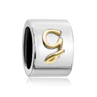 Cylindrical Shaped Letter Initial G Alphabet Two Tone Plated Beads Charms Bracelets Fit All Brands