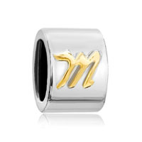 Silver Plated Cylindrical Letter Bracelet Charms Initial M Charm