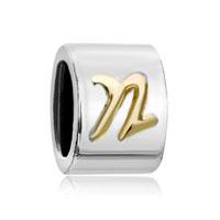 Silver Letter Bracelet Charm Initial N Charm Alphabet European Bead