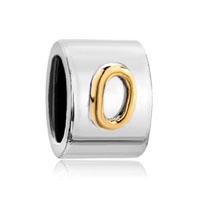 Cylindrical Shaped Letter Bracelet Charm Initial O Charm Alphabet Bead