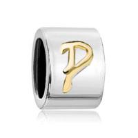 Silver Letter Bracelet Charm Initial P Charm Alphabet European Bead