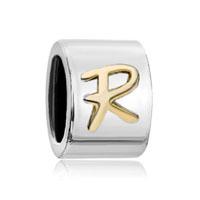 Silver Letter Bracelet Charm Initial R Charm Alphabet European Bead