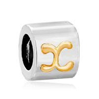 Silver Letter Bracelet Charm Initial X Charm Alphabet European Bead