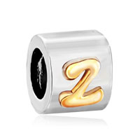 Letter Bracelet Charms Initial Z Pattern Alphabet European Bead