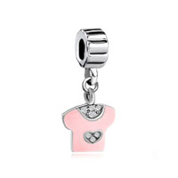Pink T Shirt With Clear Rhinestone Spacer Fit All Brands Dangle European Beads Charms Bracelets