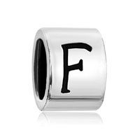 Silver Plated Letter Bracelet Charm Initial F Alphabet European Bead