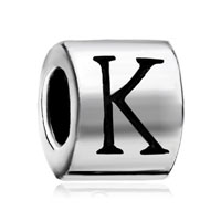 Cylindrical Shaped Letter Bracelet Charm Initial K Charm Alphabet Bead