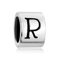 Cylindrical Letter Bracelet Charms Initial R Alphabet European Bead