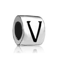 Cylindricalshaped Letter Bracelet Charm Initial V Charm Alphabet Bead