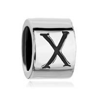 Cylindrical Letter Initial X Alphabet Beads Charms Bracelets Fit All Brands