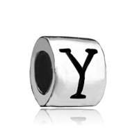 Silver Plated Letter Bracelet Charm Initial Y Alphabet European Bead