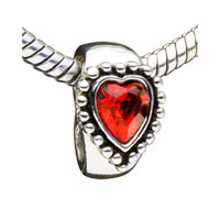 Garnet Heart Crystal Fit All Brands Beads Charms Bracelets