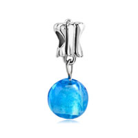 Plated Murano Glass Blue Ball Dangle European Beads Fit All Brands Charms Bracelets