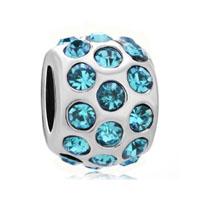 Beads Charm Bracelet March Birthstone Pale Blue Beads Charm Bracelet