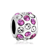 Silver Pink Rhinestone European Infant Charm Bead Charms Bracelets