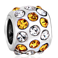 Silver Plated Orange Clear Rhinestone Beads Charms Bracelets Fit All Brands