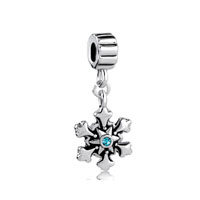 Blue Swarovski Crystal Christmas Charm Bracelet Snowflake Dangle