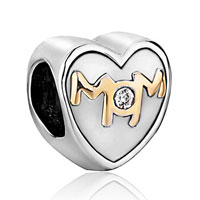 Mother Jewelry Heart Shaped I Love Mom Beads Charms Bracelets Fit All Brands
